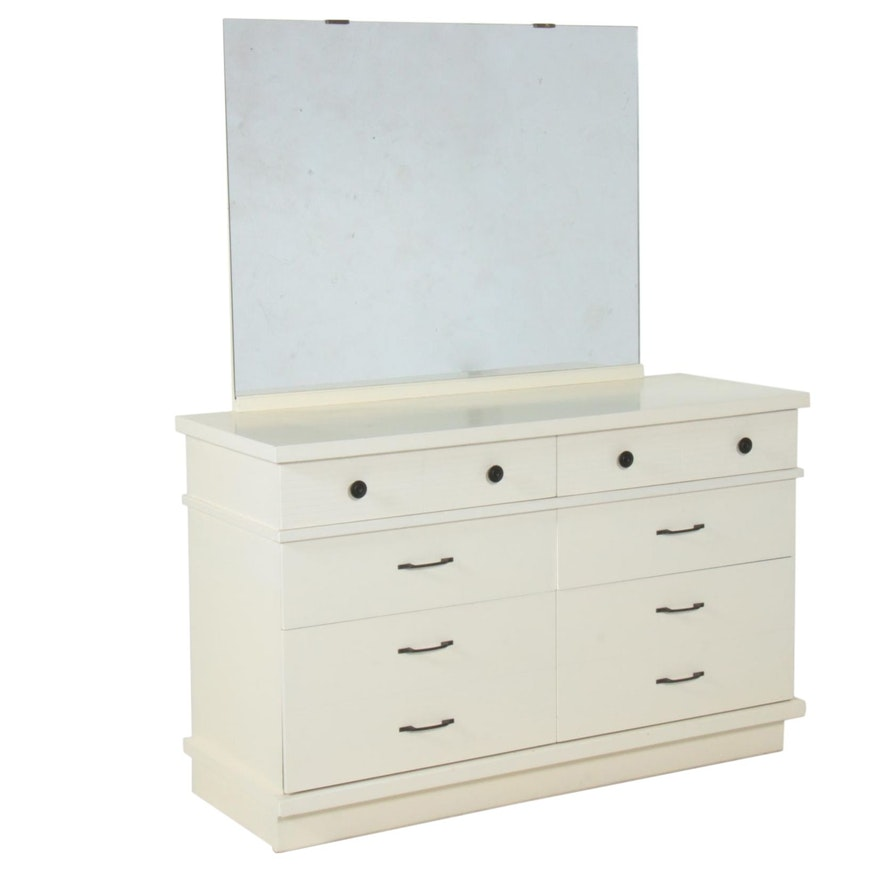 Mainline by Hooker White-Painted Dresser and Mirror, Mid-20th Century