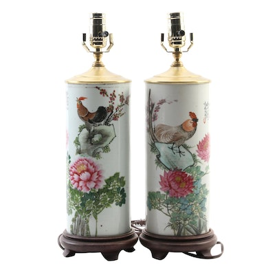 Hand-Painted Chinese Porcelain Hat Stand Converted Table Lamps