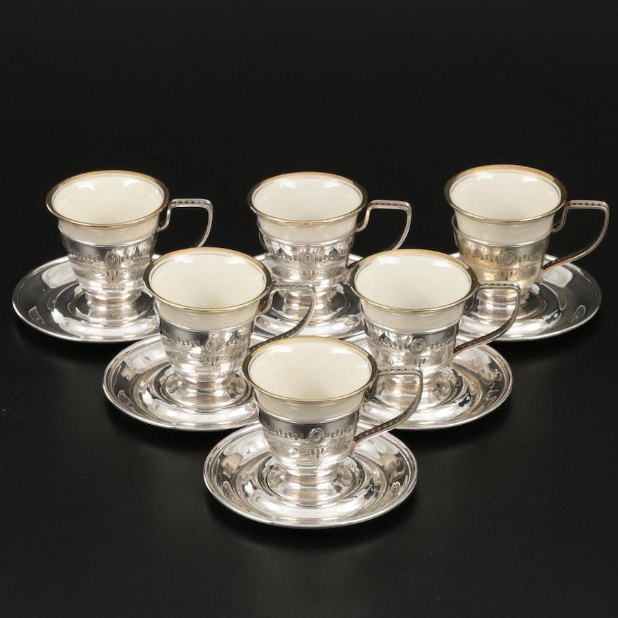 Webster Sterling Silver Demitasse Cup and Saucer Set with Porcelain Inserts