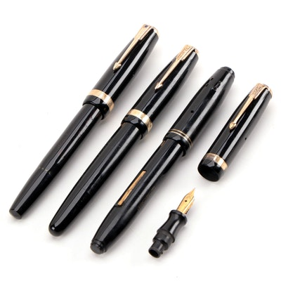 Parker Vacumatic and Parkette Fountain Pens with Extra Nib and Cap, 1930s