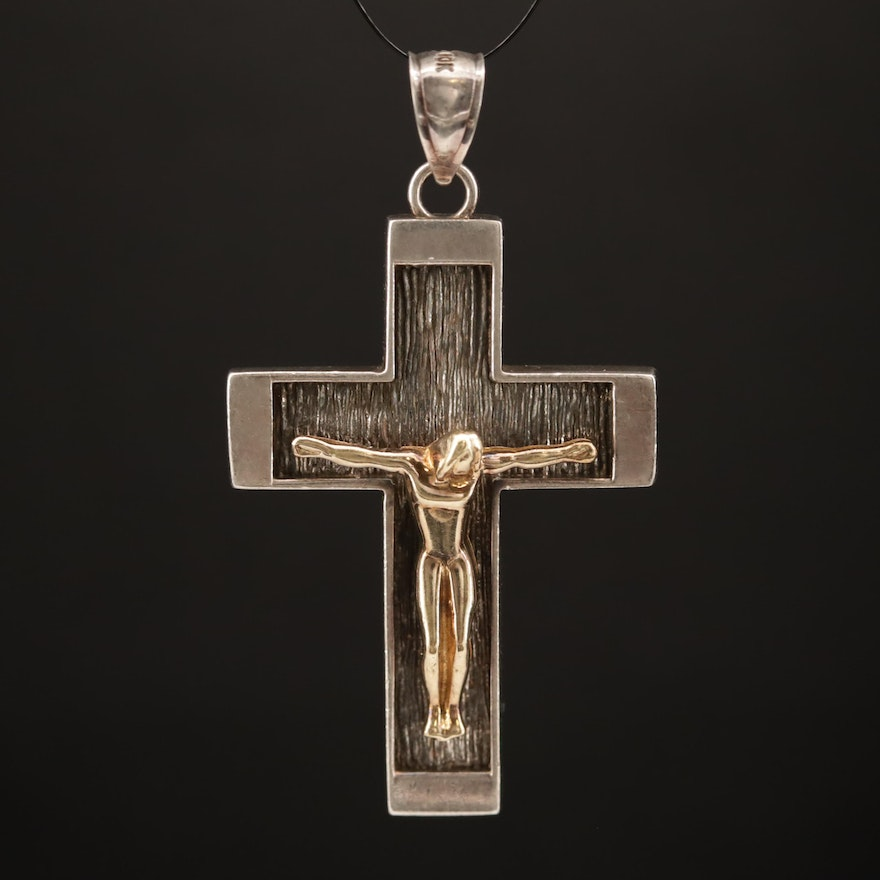 Sterling Silver Crucifix Pendant with 10K Accent