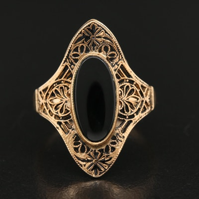 10K Black Onyx Sawtooth Bezel Filigree Ring