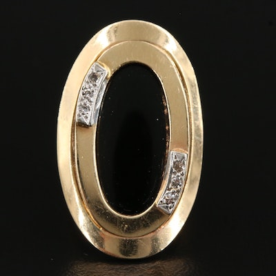 1940's 14K Black Onyx and Diamond Pointer Ring