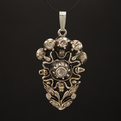 Antique Sterling Diamond Converted Enhancer Pendant