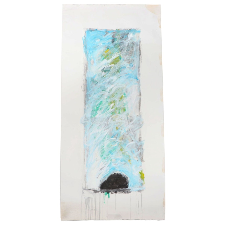 Esther Liu Abstract Expressionist Acrylic Painting, Late 20th Century
