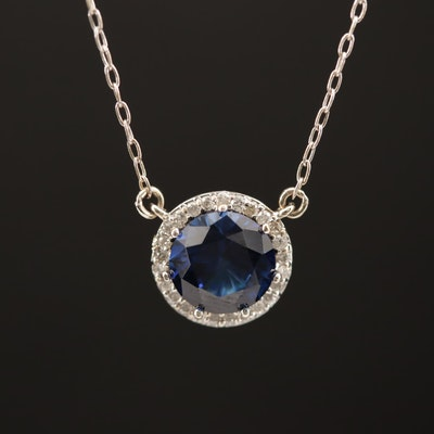 14K Sapphire Pendant Necklace with Diamond Halo