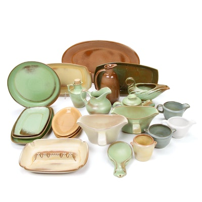"Frankoma  ""Prairie Green"", ""Desert Gold"" and Other Sapulpa Clay Serveware, 1950s"