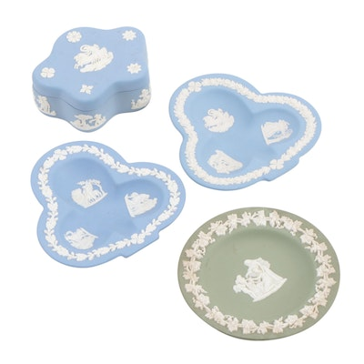 Wedgwood Jasperware Trinket Box, Trinket Dish, and Club-Shaped Ashtrays