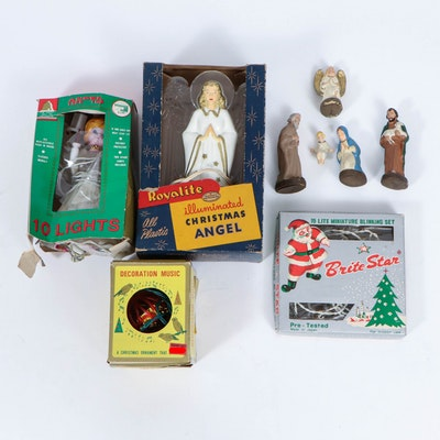 Royalite Illuminated Angel,  Brite Star Light Strand, and Nativity Scene, 1950s