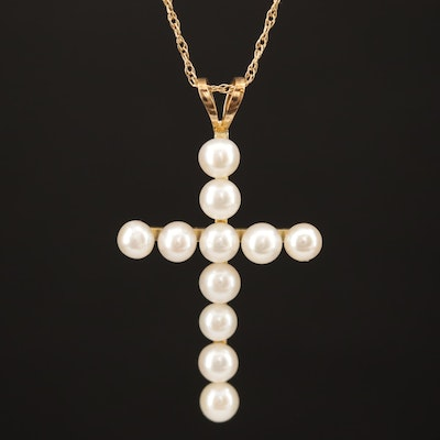 14K Pearl Cross Necklace
