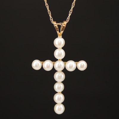14K Pearl Cross Necklace