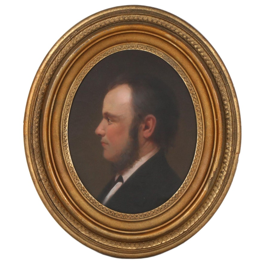 Oil Painting Portrait of a Man, Early to Mid 1800s