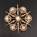 14K Diamond Snowflake Converter Brooch