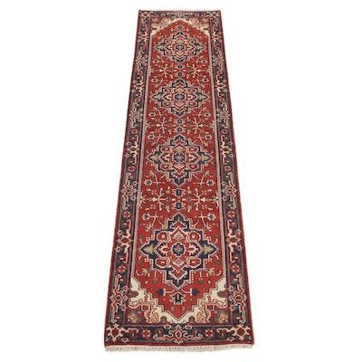 2'6 x 10'3 Hand-Knotted Indo Persian Heriz Serapi Carpet Runner, 2010s