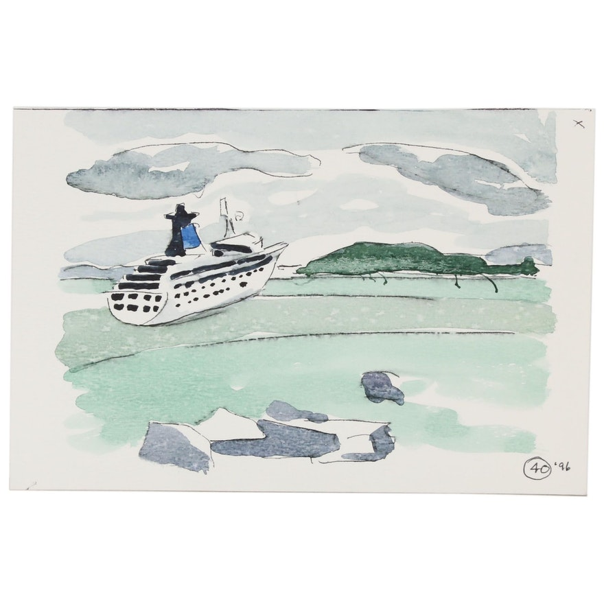 Robert Herrmann Watercolor Painting of a Yacht, 1996