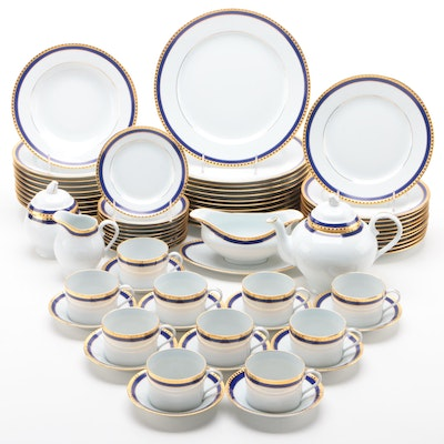 "Tiffany & Co. ""Blue Band"" Limoges Porcelain Dinnerware and Tea Service, 1990s"