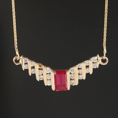 14K Ruby and Diamond Stepped Chevron Necklace with Round Foxtail Chain