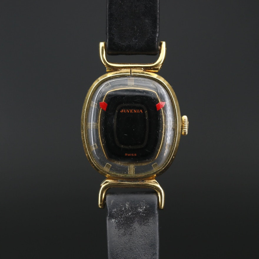 Swiss Juvenia Gold Plate Mystery Dial Wristwatch