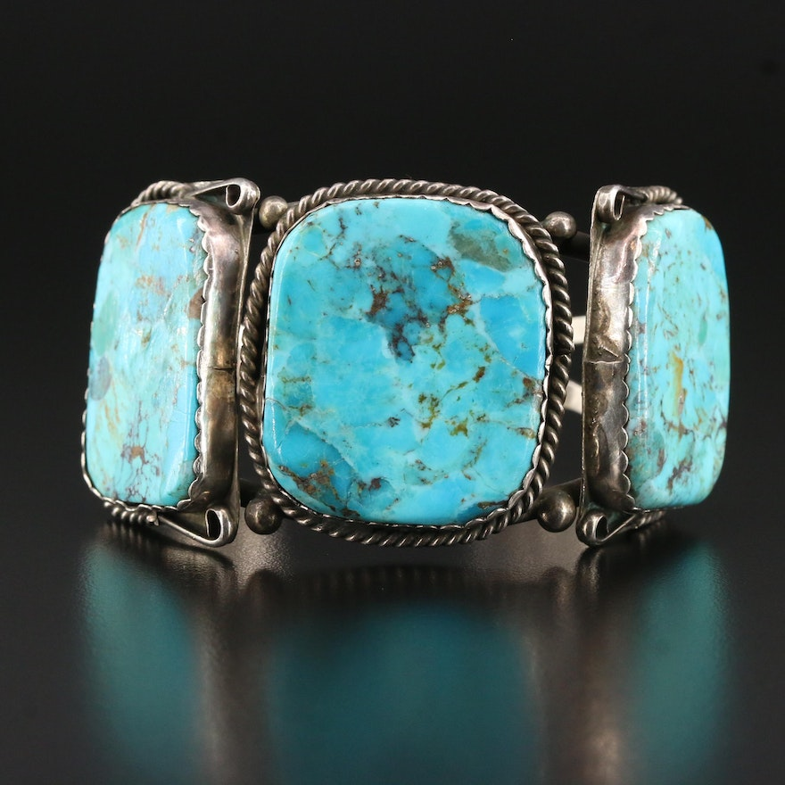 Western Style Sterling Silver Turquoise Cuff