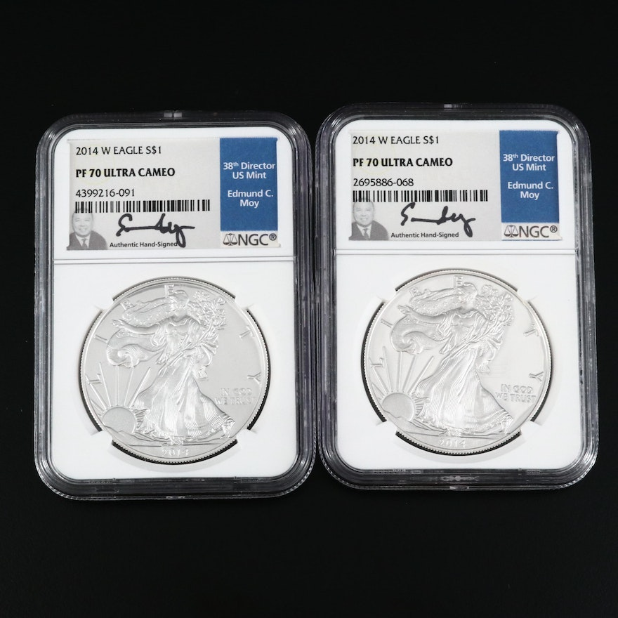 Pair of NGC Graded PF 70 Ultra Cameo Proof 2014-W Silver Eagle Dollar Coins