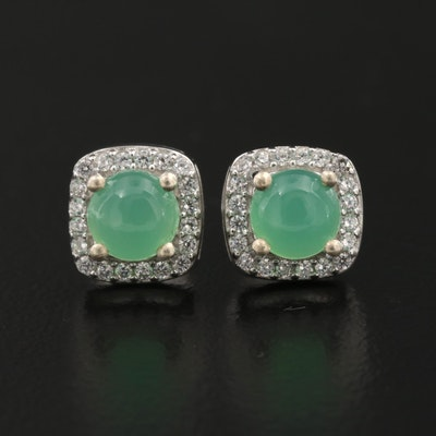 Sterling Silver Chrysoprase Stud Earrings with Cubic Zirconia Halo