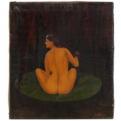 Naïve Style Oil Painting of Female Nude