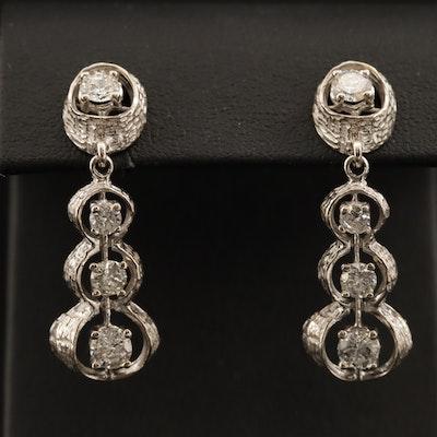 14K 1.96 CTW Graduated Diamond Drop Earrings