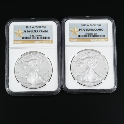 Pair of NGC Graded PF 70 Ultra Cameo Proof 2015-W Silver Eagle Dollar Coins