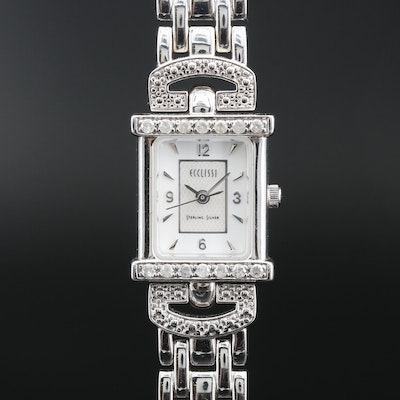 Ecclissi Sterling Silver and Diamond Quartz Wristwatch