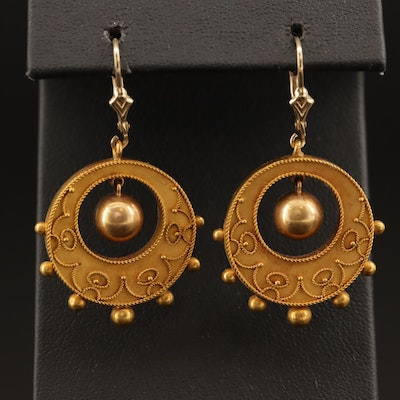 Round Cannetille Dangle Earrings with Bead Drops and 14K Findings