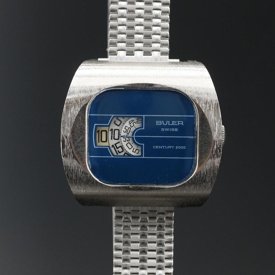 Buler Swiss Century 2000 Jump Hours Gold Tone Wristwatch
