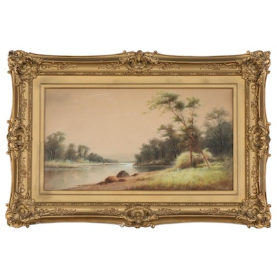 Riverbank Scene Watercolor Painting, 20th Century