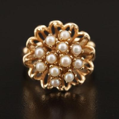 Vintage 14K Pearl Flower Motif Ring