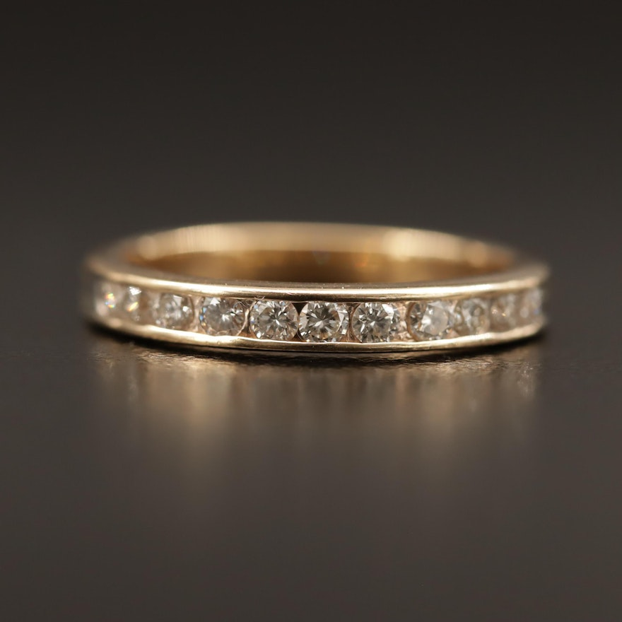 14K Diamond Channel Band
