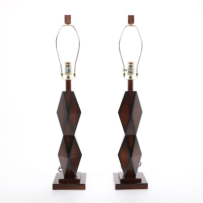 Pair of Contemporary Geometric Table Lamps, 21st Century