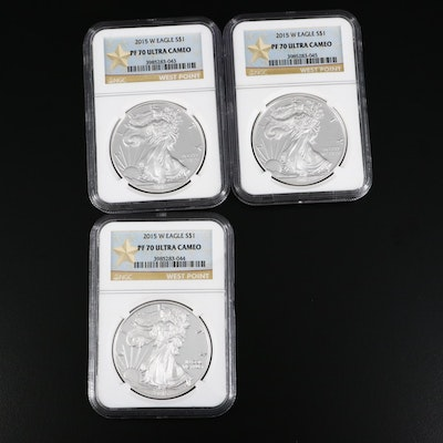 Three NGC Graded PF 70 Ultra Cameo Proof 2015-W Silver Eagle Dollar Coins