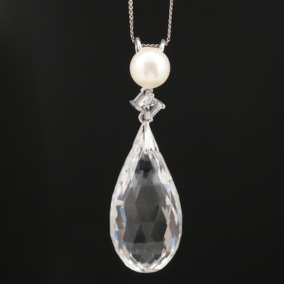 14K Rock Crystal Quartz Drop Necklace with White Sapphire and Pearl