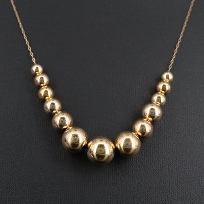 """14K """"Add-A-Bead"""" Graduated Necklace"""