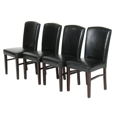 Four Arhaus Black Faux Leather Dining Chairs, 21st Century