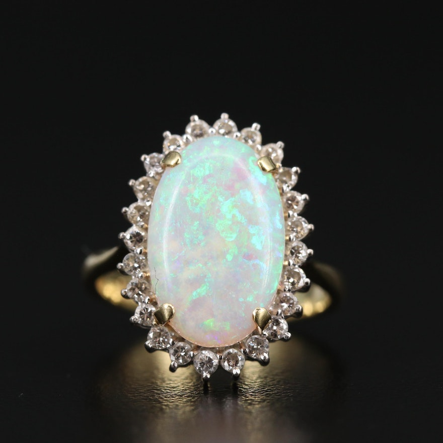 14K Opal Ring with Diamond Halo