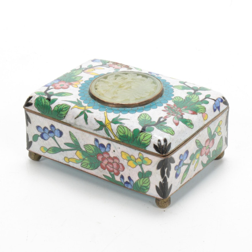 Chinese Cloisonné Trinket Box with Carved Jadeite Medallion
