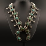 Turquoise Squash Blossom Necklace with Sterling Beads
