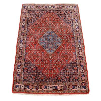 3'10 x 6' Hand-Knotted Persian Bijar Rug, 1970s