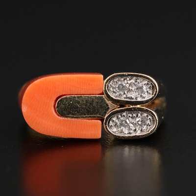 14K Coral and Diamond Ring
