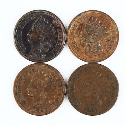 Four Indian Head Cents, Late 19th & Early 20th Century