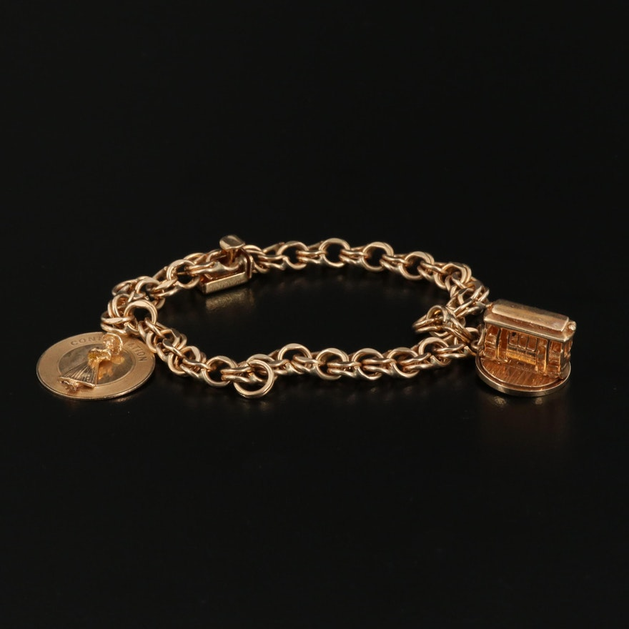 14K Charm Bracelet Including Cable Car Charm