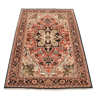 6' x 9' Hand-Knotted Indo-Persian Heriz Serapi Rug, 2010s