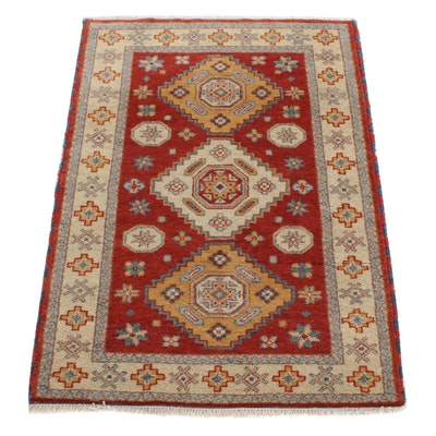 4'2 x 5'11 Hand-Knotted Indo Caucasian Kazak Rug, 2010s