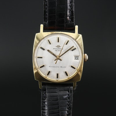 "Vintage Movado ""Kingmatic Surf"" Gold Tone Automatic Wristwatch"