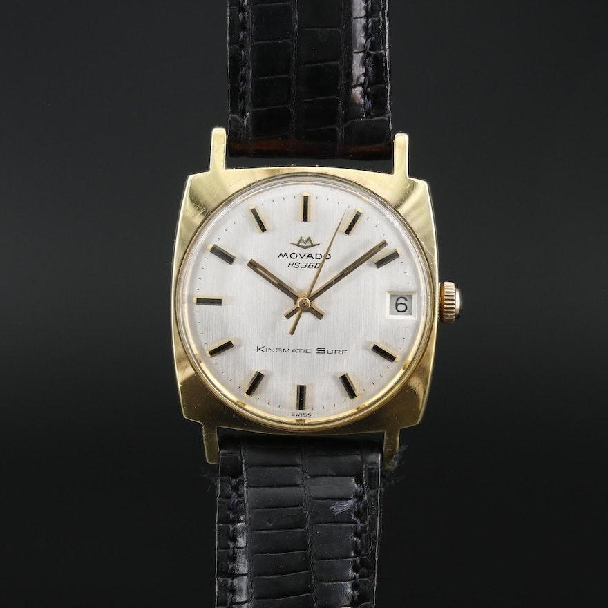 "Vintage Movado ""Kingmatic Surf"" Gold Tone Automatic Wristwatch"